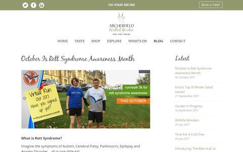 Screenshot of Blog archerfieldwalledgarden.com - Home | Archerfield Walled Garden - captured Feb. 18, 2018