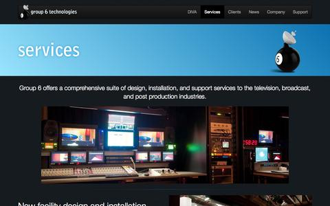 Screenshot of Services Page group6.co.nz - Services - Group 6 Technologies - end to end television, post production and broadcast facility solutions - captured Oct. 3, 2014