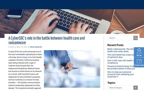 A CyberSOC's role in the battle between health care and ransomware