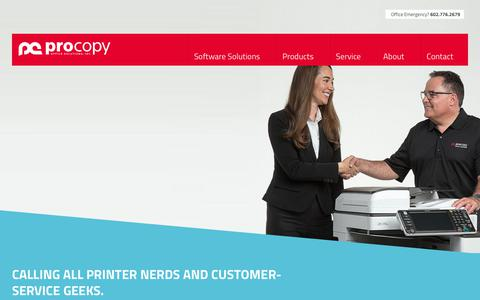 Screenshot of Jobs Page procopyoffice.com - Copier Sales Jobs for Enthusiastic, Service Managers & Field Technicians - captured Feb. 16, 2019
