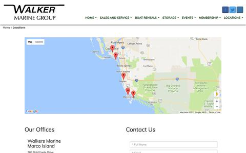 Screenshot of Locations Page walkersmarine.com - Boat Sales, Florida | Ft. Myers, Naples, Marco Island, Goodland, Myers Beach. - captured July 18, 2017