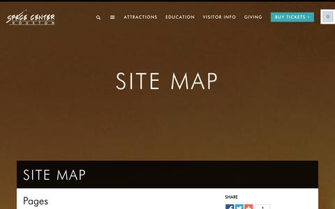 Screenshot of Site Map Page spacecenter.org - Space Center Houston |   Site Map - captured Sept. 22, 2014