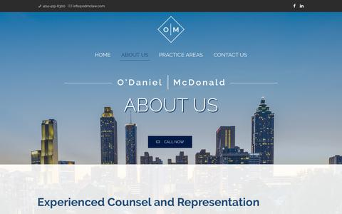 Screenshot of About Page odmclaw.com - O'Daniel McDonald | Atlanta Commercial & Business Lawyers | Contract Lawyers - captured Oct. 20, 2018