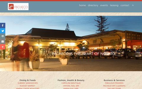 Screenshot of Home Page pachecoplaza.com - Pacheco Plaza Novato : Novato Shopping Center | The Heart of Novato - captured Nov. 28, 2016