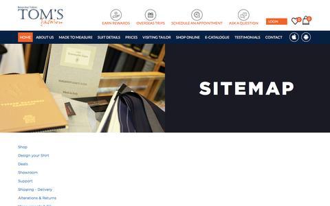 Screenshot of Site Map Page tomsfashion.com - Sitemap - captured Sept. 20, 2018