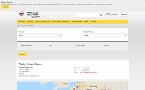 Screenshot of Contact Page Locations Page wackerneuson.fr - Locations | Wacker Neuson - captured Oct. 24, 2018