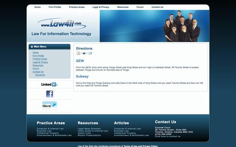 Screenshot of Maps & Directions Page law4it.com - LAW4IT.COM - Law For Information Technology  -  Directions - captured Jan. 27, 2016