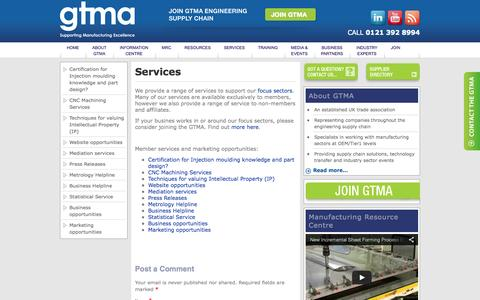 Screenshot of Services Page gtma.co.uk - Our Services For Members and Non-Members | GTMA - captured Oct. 1, 2014