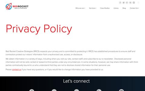 Screenshot of Privacy Page redrocketcreative.com - Privacy Policy - captured Oct. 20, 2018