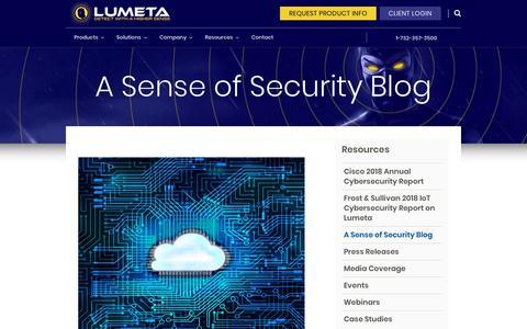 Screenshot of Blog lumeta.com - A Sense of Security Blog   Lumeta - captured Sept. 30, 2018