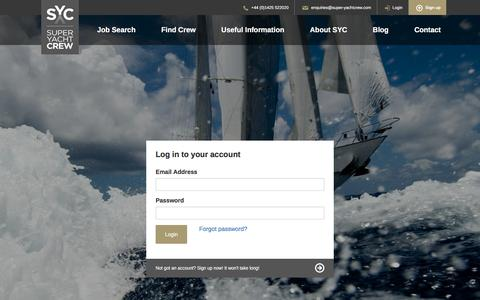 Screenshot of Login Page super-yachtcrew.com - Login | Super Yacht Crew - captured Dec. 11, 2016