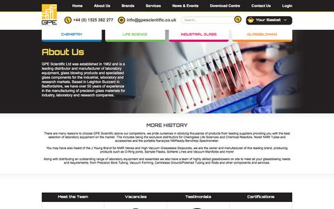 Screenshot of About Page gpescientific.co.uk - About Us | GPE Scientific - captured Oct. 17, 2016