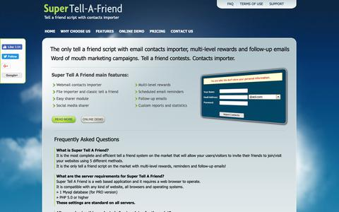 Screenshot of FAQ Page super-tell-a-friend.com - Tell A Friend Script With Contact Importer - Super Tell A Friend | Import contacts and invite all friends - Frequently Asked Questions - captured Oct. 24, 2018
