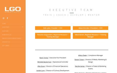 Screenshot of Team Page lgohospitality.com - OUR TEAM | LGO Hospitality - captured Dec. 13, 2018