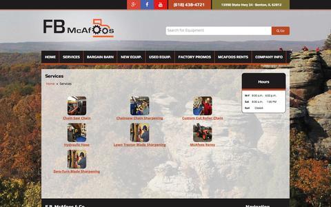 Screenshot of Services Page fbmcafoosparts.com - Services F.B. McAfoos & Co. Benton, IL (618) 438-4721 - captured Nov. 19, 2016
