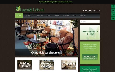 Screenshot of Home Page lawn-and-leisure.com - Lawn & Leisure - Outdoor furniture, grills, lawn equipment, fireplaces for Northern Virginia, Maryland & Washington DC - captured April 13, 2017