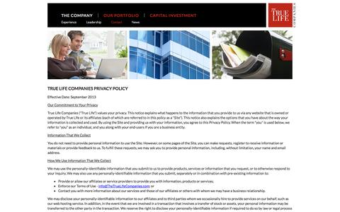 Screenshot of Privacy Page thetruelifecompanies.com - Contact Us | TTLC - captured Sept. 30, 2014