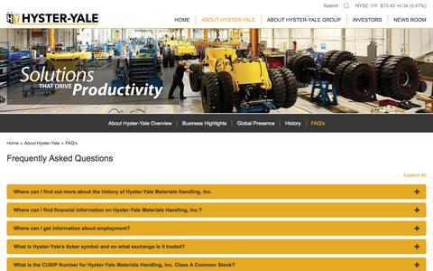 Screenshot of FAQ Page hyster-yale.com - Hyster-Yale Materials Handling, Inc., About Hyster-Yale - FAQ's - captured April 14, 2018