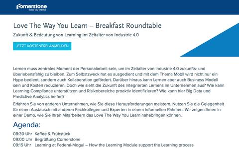 Screenshot of Landing Page cornerstoneondemand.com - Love The Way You Learn – Breakfast Roundtable - captured Oct. 29, 2016
