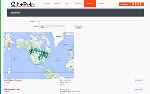 Screenshot of Locations Page coleandparker.co - Cole And Parker - Bold socks that start businesses - Locations - captured Sept. 30, 2014