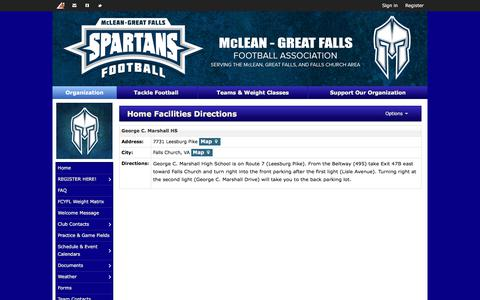 Screenshot of Maps & Directions Page mcleanyouthfootball.org - Home Facilities Directions | McLean-Great Falls Football - captured June 10, 2017