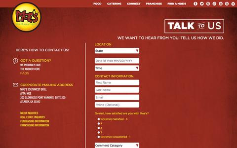 Screenshot of Contact Page moes.com - Contact - captured Oct. 26, 2014
