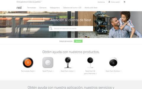 Screenshot of Support Page nest.com - Atención al cliente   Nest - captured Jan. 14, 2018