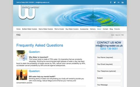Screenshot of FAQ Page living-water.co.uk - Frequently Asked Questions | Living Water FAQ - captured Nov. 10, 2016