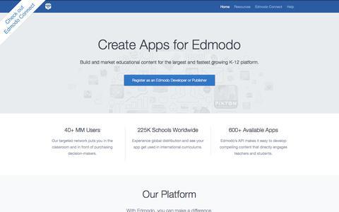 Screenshot of Developers Page edmodo.com - Edmodo Developers - captured Oct. 28, 2014