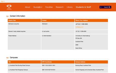 Screenshot of Contact Page uj.ac.za - Contact UJ - captured Sept. 25, 2018