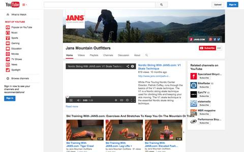 Screenshot of YouTube Page youtube.com - Jans Mountain Outfitters  - YouTube - captured Oct. 23, 2014