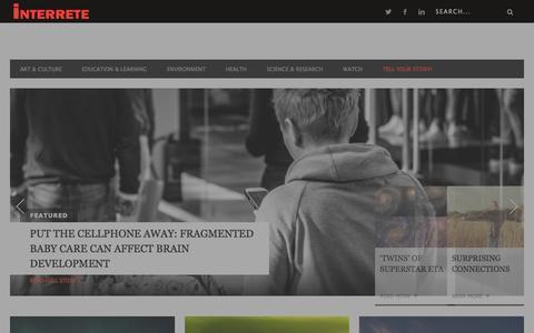 Screenshot of Home Page interrete.org - Stories That Matter   Interrete - captured Jan. 9, 2016