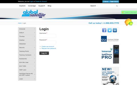Screenshot of Login Page globalsatellite.us - Phones, wireless communications, global satellite, satellite communications, bgan - captured Aug. 14, 2017