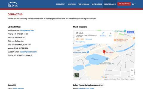 Screenshot of Contact Page belarc.com - Contact Us - captured Dec. 9, 2018