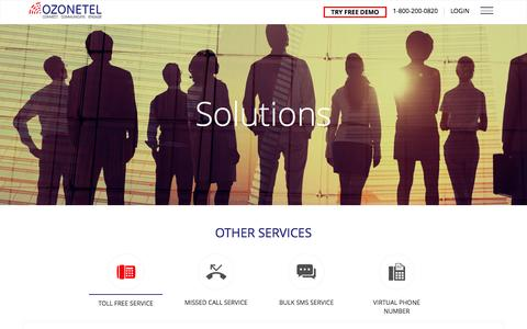Screenshot of Services Page ozonetel.com - bulk sms gateway,toll free number services,virtual number-ozonetel - captured Aug. 22, 2016