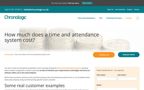 Screenshot of Pricing Page chronologic.co.uk - Time and Attendance System Cost   Workforce Management - captured Sept. 28, 2018