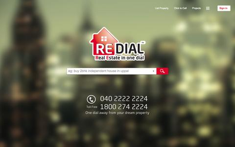 Screenshot of Home Page redial.in - BUY/SELL/RENT Property | Real estate in Hyderabad | India | Redial.in. - captured Oct. 7, 2014