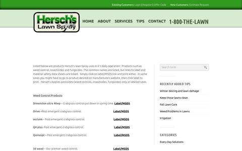 Screenshot of Products Page herschslawnspray.com - Products | Hersch's Lawn Spray - captured Dec. 10, 2015
