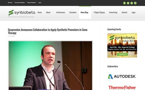 Screenshot of Press Page synbiobeta.com - News for the Synthetic Biology Industry - SynBioBeta - captured Jan. 12, 2016