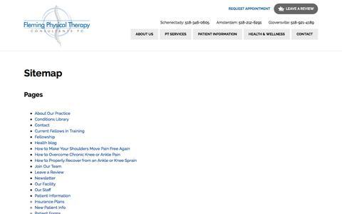 Screenshot of Site Map Page flemingptconsultants.com - Sitemap - Fleming PT Consultants - captured Oct. 14, 2017