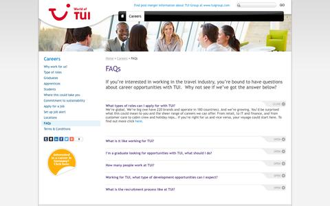 Screenshot of FAQ Page tuitravelplc.com - Working in the travel industry | FAQs for jobs and careers in the travel industry | TUI Travel - captured Feb. 16, 2016
