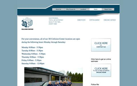 Screenshot of Hours Page 3dbodyworks.com - Hours | Auto Shop West Chester PA | 3d Collision Centers - captured Oct. 1, 2014