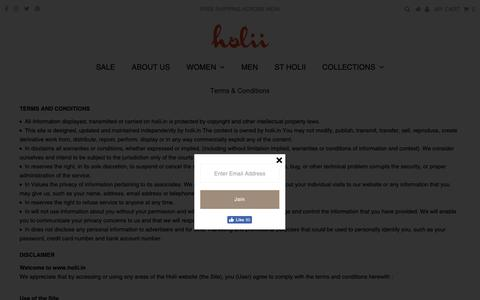 Screenshot of Terms Page holii.in - Terms & Conditions – Holii Accessories Private Limited - captured Nov. 11, 2018