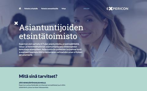 Screenshot of Home Page expericon.fi - Asiantuntijoiden etsintätoimisto - Expericon - captured Oct. 3, 2014