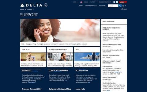 Screenshot of Support Page delta.com - Support   Delta Air Lines - captured Sept. 19, 2014
