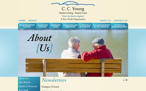 Screenshot of Press Page ccyoung.org - News | CC Young Assisted Living - captured July 8, 2016