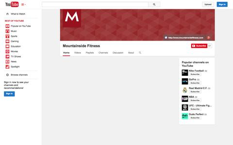 Screenshot of YouTube Page youtube.com - Mountainside Fitness  - YouTube - captured Oct. 31, 2014
