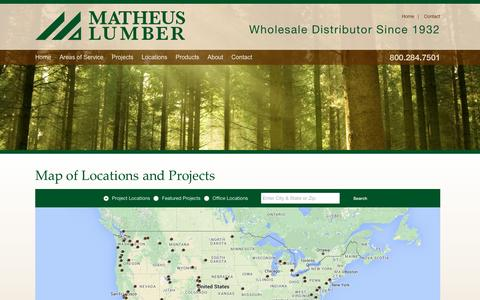 Screenshot of Maps & Directions Page matheuslumber.com - Map - captured Feb. 12, 2016