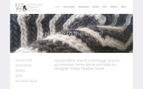 Screenshot of Home Page heathergraefstudio.com - Heather Graef Studio - Handbags & Accessories | Designs for Your Life and Style - captured July 21, 2015