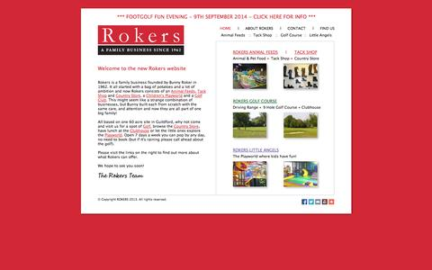 Screenshot of Home Page rokers.co.uk - Portal page for Rokers - Animal Feeds, Tack Shop, Country Store, Children's Playworld, Golf Course, Driving Range, Clubhouse - captured Sept. 30, 2014